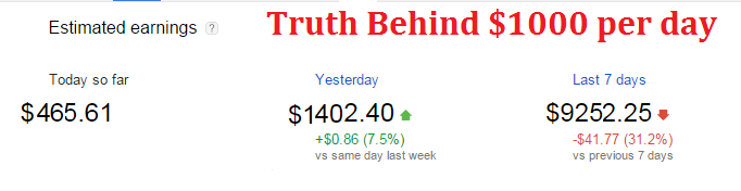 Truth behind $1000 adsense earning per day