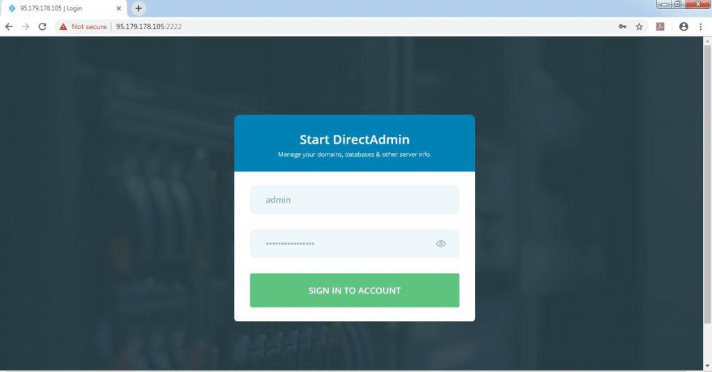 Direct Admin Control Panel Setup