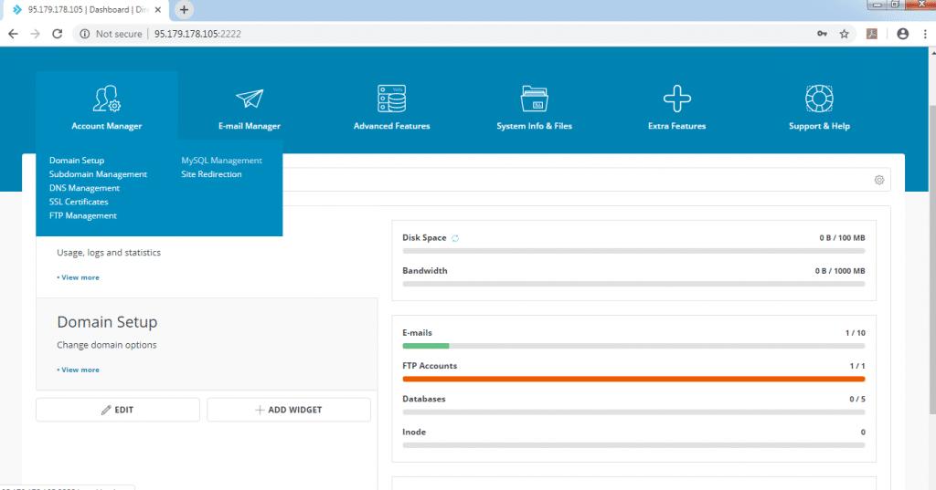 Create Database on Direct Admin