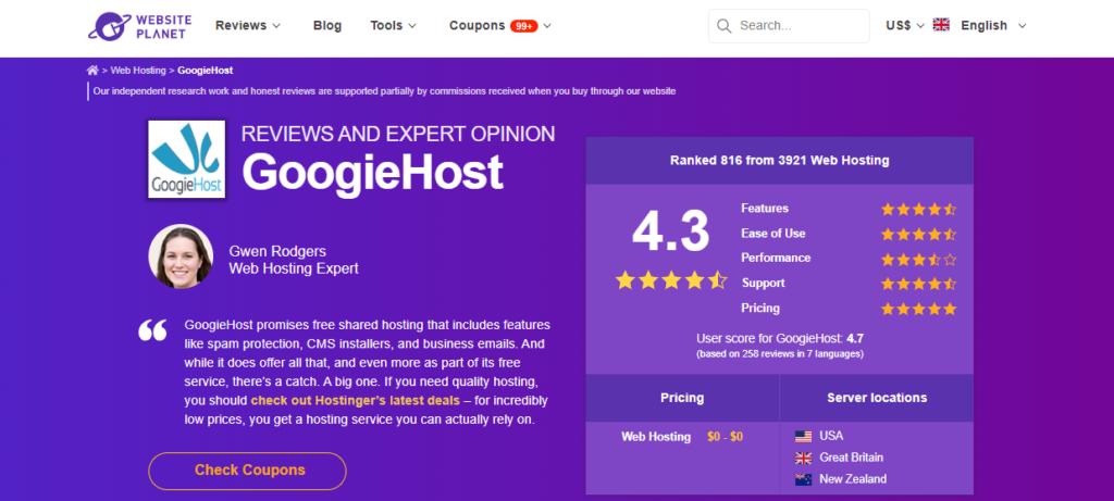 GoogieHost review 2021