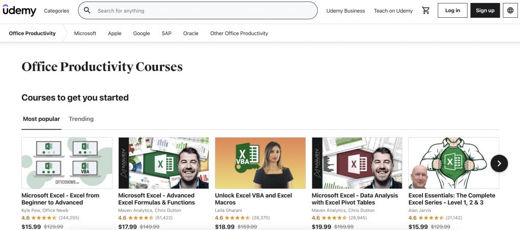 Office Productivity best Udemy Courses